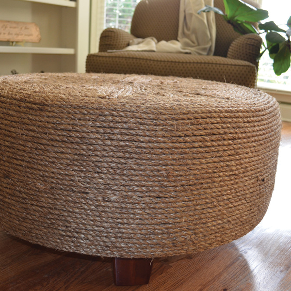 Make a Trendy Ottoman out of an Old Tyre
