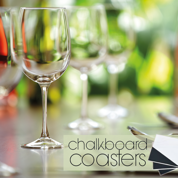 Make trendy chalkboard coasters